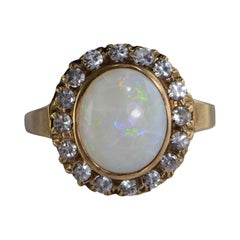 Retro Opal Zircon Yellow Gold Ring