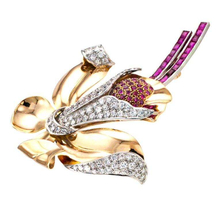 Women's or Men's Retro Orchid Ruby and Diamond Brooch For Sale