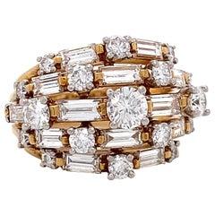 Retro Oscar Heyman Diamond 18 Karat Gold Cocktail Ring