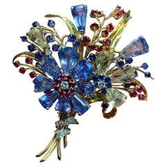 Retro Oscar Heyman Multi Gem and Diamond Flower Brooch