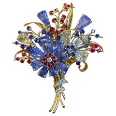 Retro Oscar Heyman Multi Gem and Diamond Flower Brooch