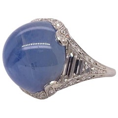 Retro Oscar Heyman Platinum 20 Carat Natural Blue Star Sapphire Diamond Ring