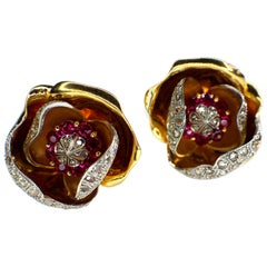 Retro Pair of Ruby and Diamond Rose Earclips