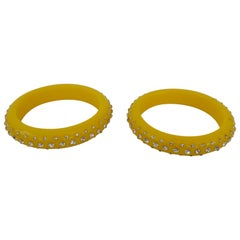Retro Pair Yellow Bakelite 3 row Rhinestone Pave Bangle Bracelet- circa 1950s