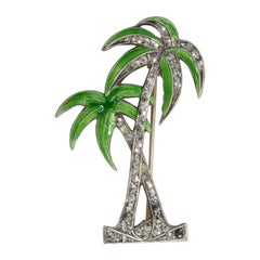 Retro Palm Tree Sterling Silver Pin Brooch, Marcasite Crystals and Green Enamel