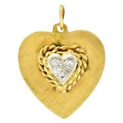 Retro Pave Diamond Platinum-Topped 14 Karat Gold Heart Charm