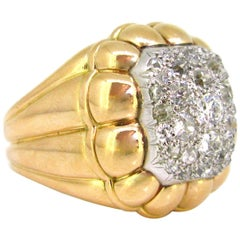Retro Pave Diamonds Ribbed Bombe Yellow Gold Platinum Ring