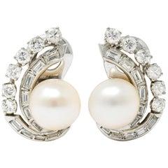 Retro Pearl 1.78 Carat Diamond Platinum Ear-Clip Earrings