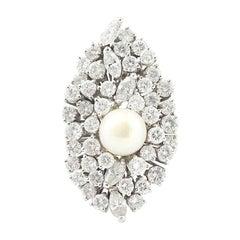 Retro Pearl 4.60 Diamonds 18 Karat White Gold Marquise Cocktail Ring
