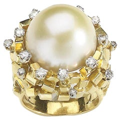 Retro Pearl and Diamond Gold Bombé Ring, Circa 1975