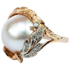 Retro Pearl and Diamond Ring by Harold Freeman