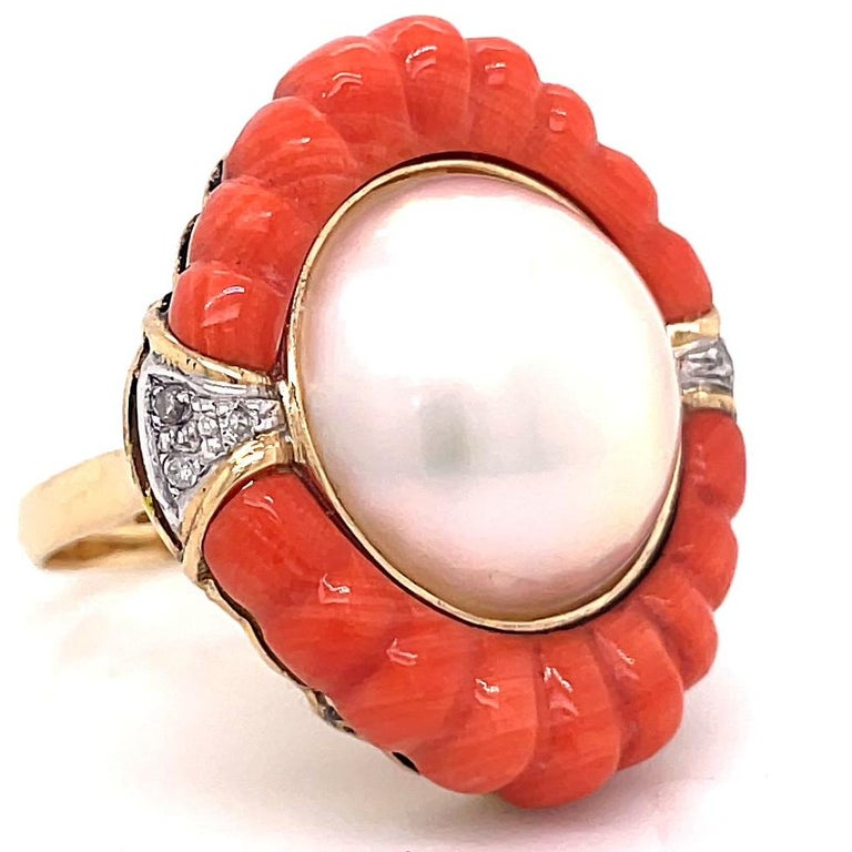 Round Cut Retro Pearl Coral Diamond 14 Karat Gold Cocktail Ring