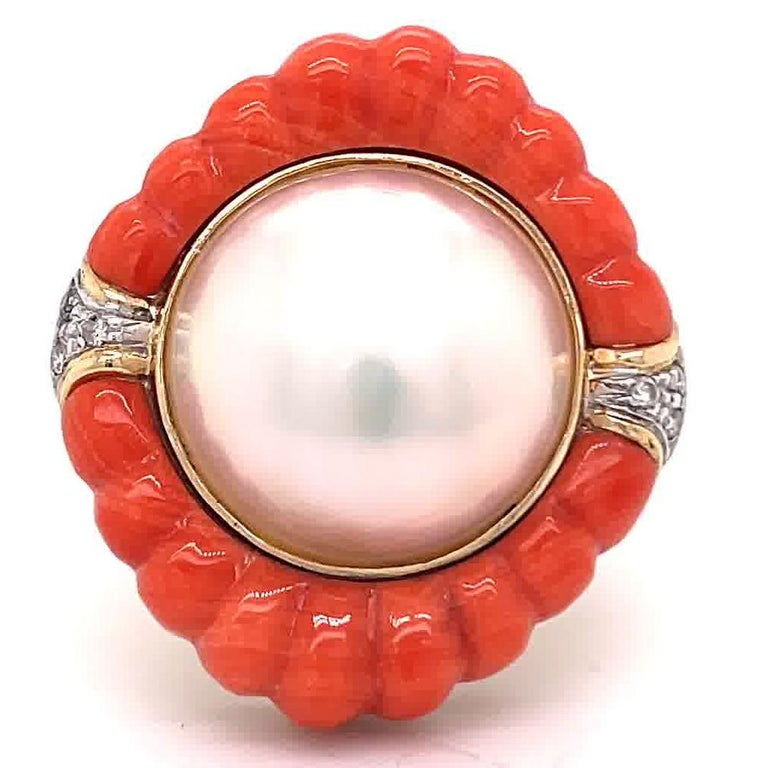 Retro Pearl Coral Diamond 14 Karat Gold Cocktail Ring In Excellent Condition In Beverly Hills, CA