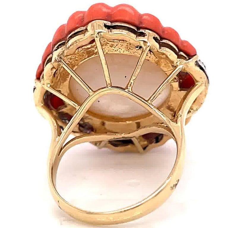Women's Retro Pearl Coral Diamond 14 Karat Gold Cocktail Ring