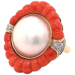 Retro Pearl Coral Diamond 14 Karat Gold Cocktail Ring