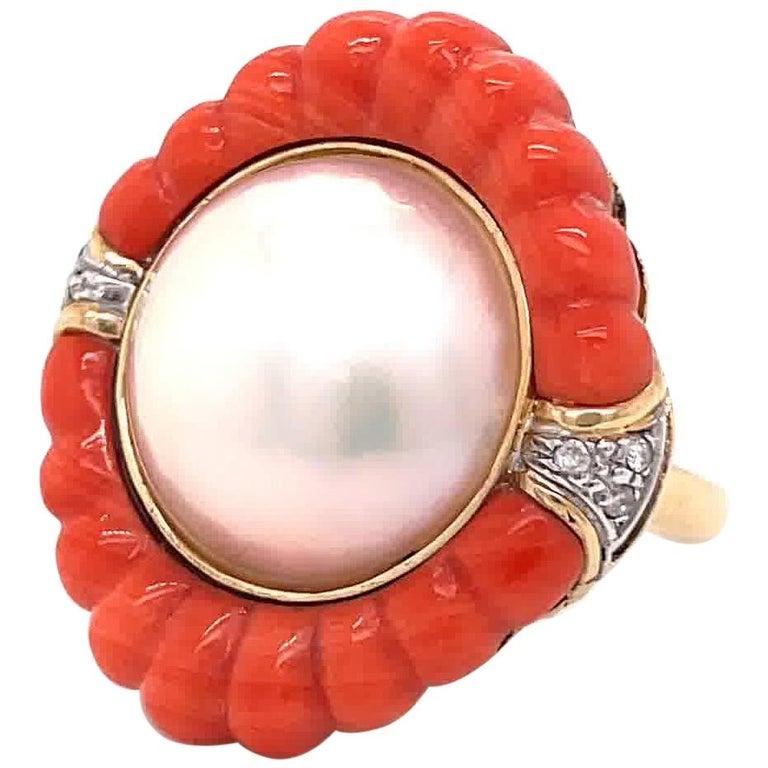 Retro Pearl Coral Diamond 14 Karat Gold Cocktail Ring