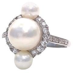 Retro Pearl Diamond Platinum Ring