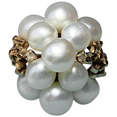 Retro Pearl Domed Cocktail Ring Midcentury 14 Karat Yellow Gold