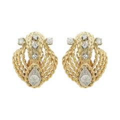 Retro Period, 14 Karat Gold and Old European Cut Diamond Ear Clips