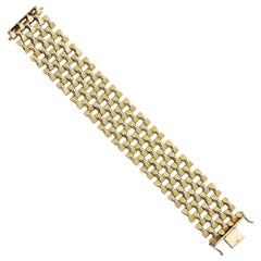 Retro Period, 14 Karat Yellow Gold, Seven Row Tank Bracelet