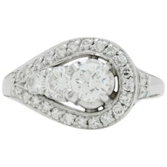 Retro Period, 18 Karat White Gold, Asymmetric, Diamond Ring