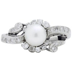 Retro Period, 18 Karat White Gold, Pearl, and Diamond Ring