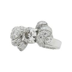 Retro Period Platinum and Diamond Bow Ring