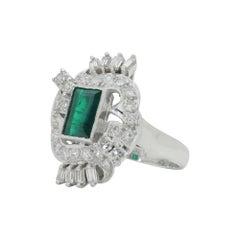 Retro Period, Platinum, Diamond and Emerald Cocktail Ring