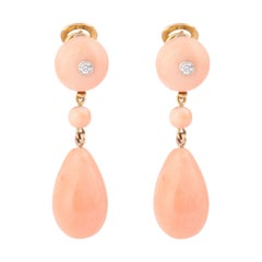 Retro Pink Angel Skin Coral 18 Carats Yellow Gold Earrings