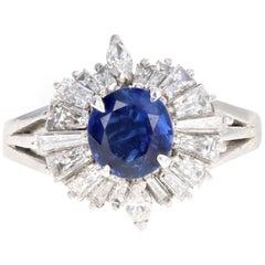 Retro Platinum 1.05 Carat Natural Sapphire and Diamond Ring