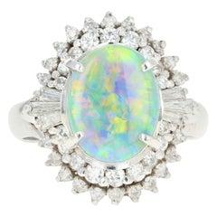 Retro Platinum 1.76 Carat Opal and Diamond Cocktail Ring