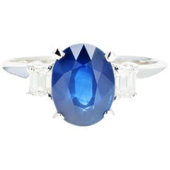 Retro Platinum 2.15 Carat Thailand Natural Royal Blue Sapphire and Diamond Ring