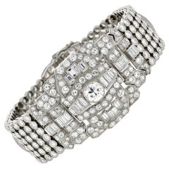 Retro Platinum 32.00 Total Carat Diamond Link Bracelet