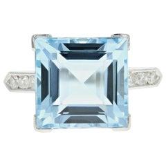 Retro Platinum 5 Carat Aquamarine and Diamond Ring