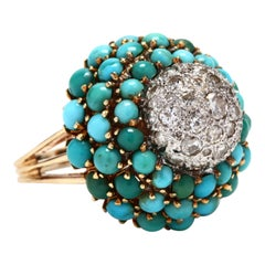 Retro Platinum and 14 Karat Gold Diamond and Turquoise Bombe Ring