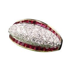 Retro Platinum and 18 Karat Yellow Gold Diamond and Ruby Ring