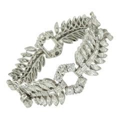 Retro Platinum and Mixed-Cut 33 Carat Diamond Bracelet