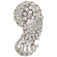 Retro Platinum Diamond Brooch