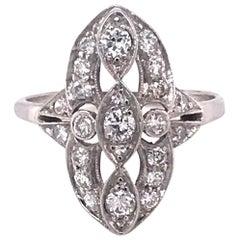 Retro Platinum Diamond Cocktail Ring 1/2 Carat