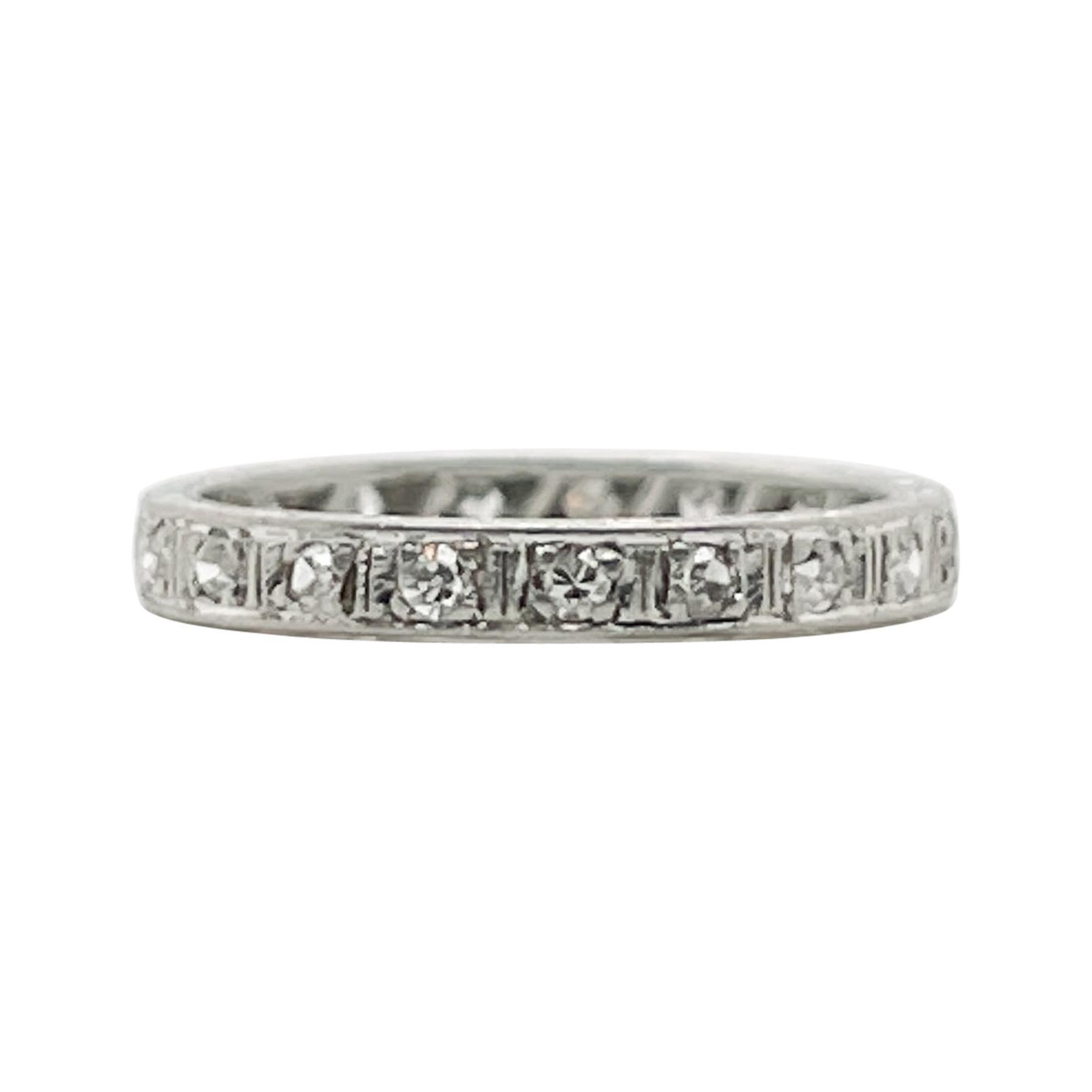 Retro Platinum & Diamond Eternity Wedding Band Ring