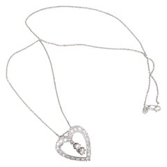 Retro Platinum Diamond Heart Pendant / Pin
