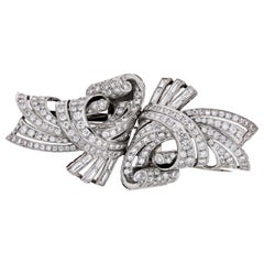 Retro Platinum Double Clips with Round and Baguette Diamonds Brooch