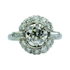 Retro Platinum European Cut Diamond with Baguette & Single Cut Diamond Ring