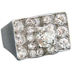 Retro Platinum Old European Cut Cushion Diamond Ring