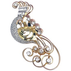 Retro Platinum, Rose and Yellow Gold Peacock Brooch with 2.95 Carat Diamonds