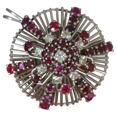 Retro Platinum Ruby Diamond Cluster Pendant Brooch