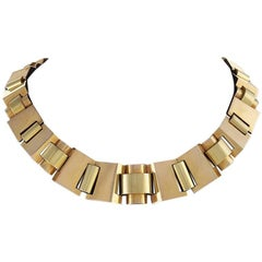 Retro Polished Gold Link 'Tank Track' Necklace