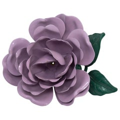 Retro Purple and Green Rose Oversized Pin Brooch in Gold