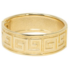 Retro Raised G Motif Textured Gold Bangle Bracelet