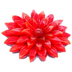 Retro Red Coral Flower Pin